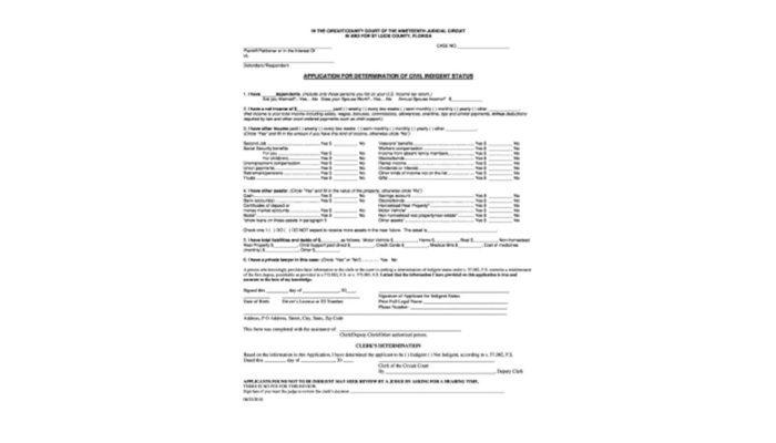 Application For Determination Of Civil Indigent Status